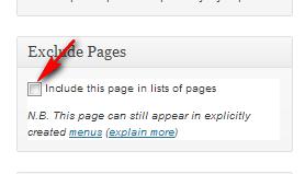 Исключение страницы