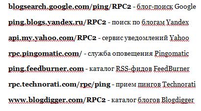 список пинг сервисов