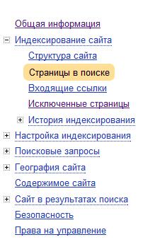 страницы в поиске