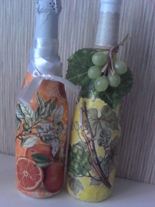 бутылки в стиле декупаж
